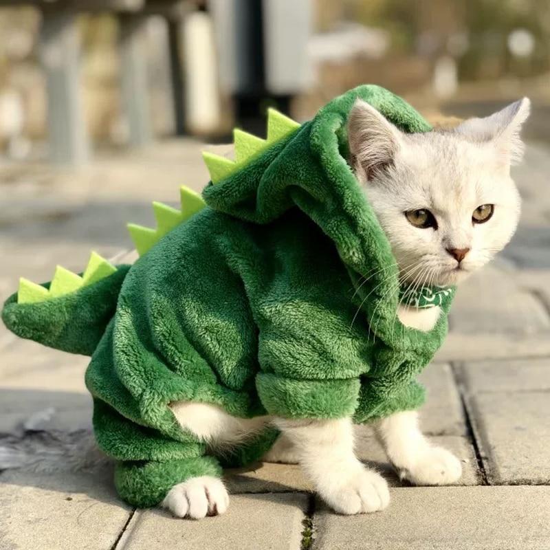Одежда для домашних животных, котов, «милый динозавр», костюмы пальто Зимние теплые флисовые куртки с капюшоном и кота Одежда для маленьких кошек кофта с капюшоном с котенком, одежда с рисунком щенка|Одежда для кошек|   | АлиЭкспресс - Тёплое для хвостатых