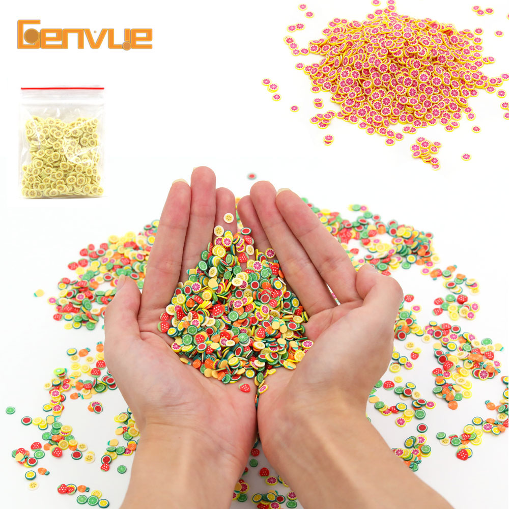 Fimo Fruit Slices Addition For Slime Fluffy Nails Art Tips Lizun Clay Accessories Supplies Sprinkles Sand Toys Glitter Clear Set