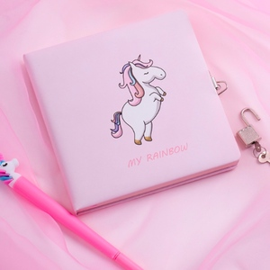 Image 3 - Lovely Cartoon Unicorn Girls Notebook with Lock Sweet Home Girl Locked Diary for Daily Memo Colorful Inner Page