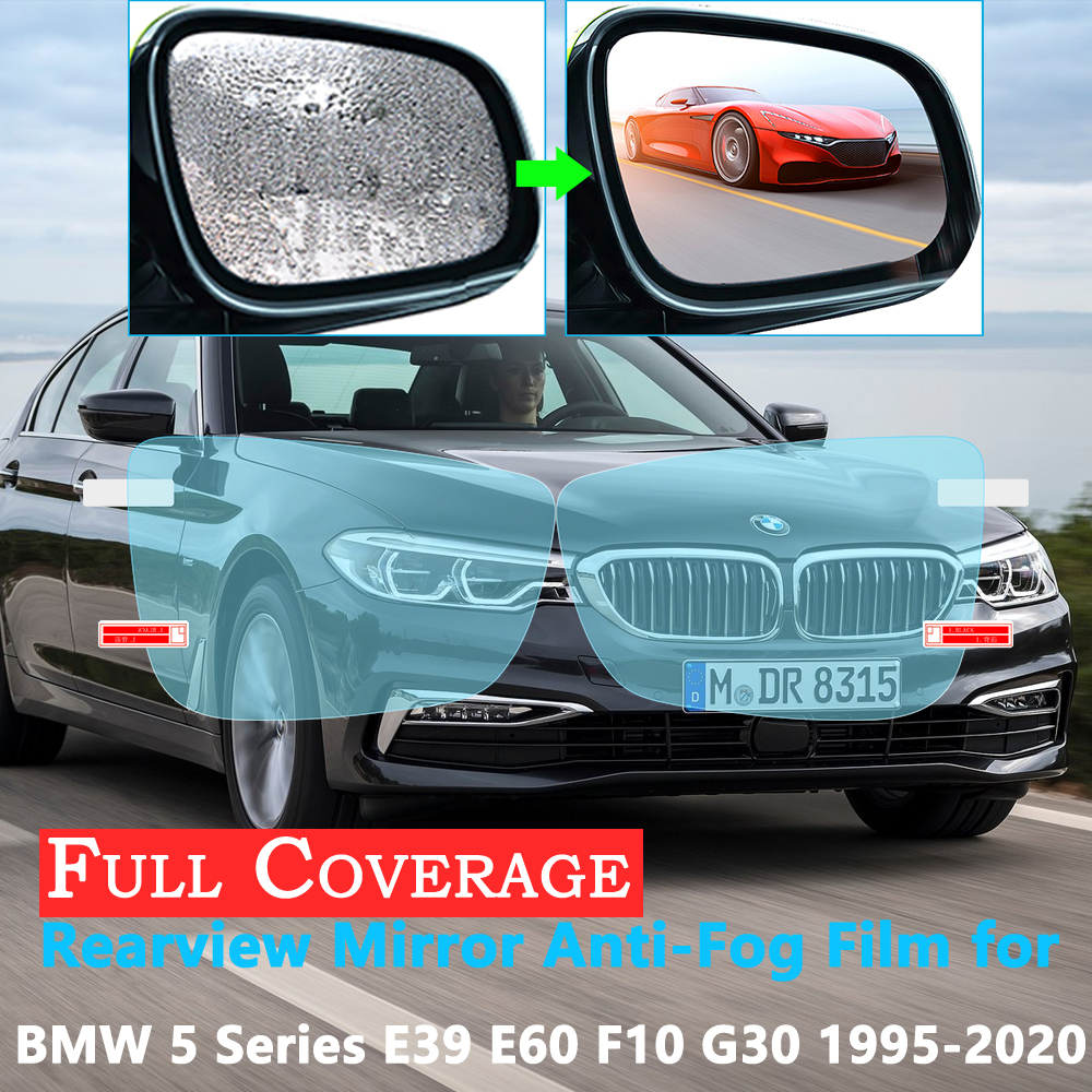 Full Cover Protective Anti Fog Film for BMW 5 Series E39 E60 <font><b>F10</b></font> G30 520i 525i 530i 535GT <font><b>520d</b></font> M 1995~2020 Rearview Rainproof image
