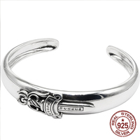 100% S925 sterling silver men's Bangles personality fashion retro punk style holy sword smooth face to send a gift of love hot