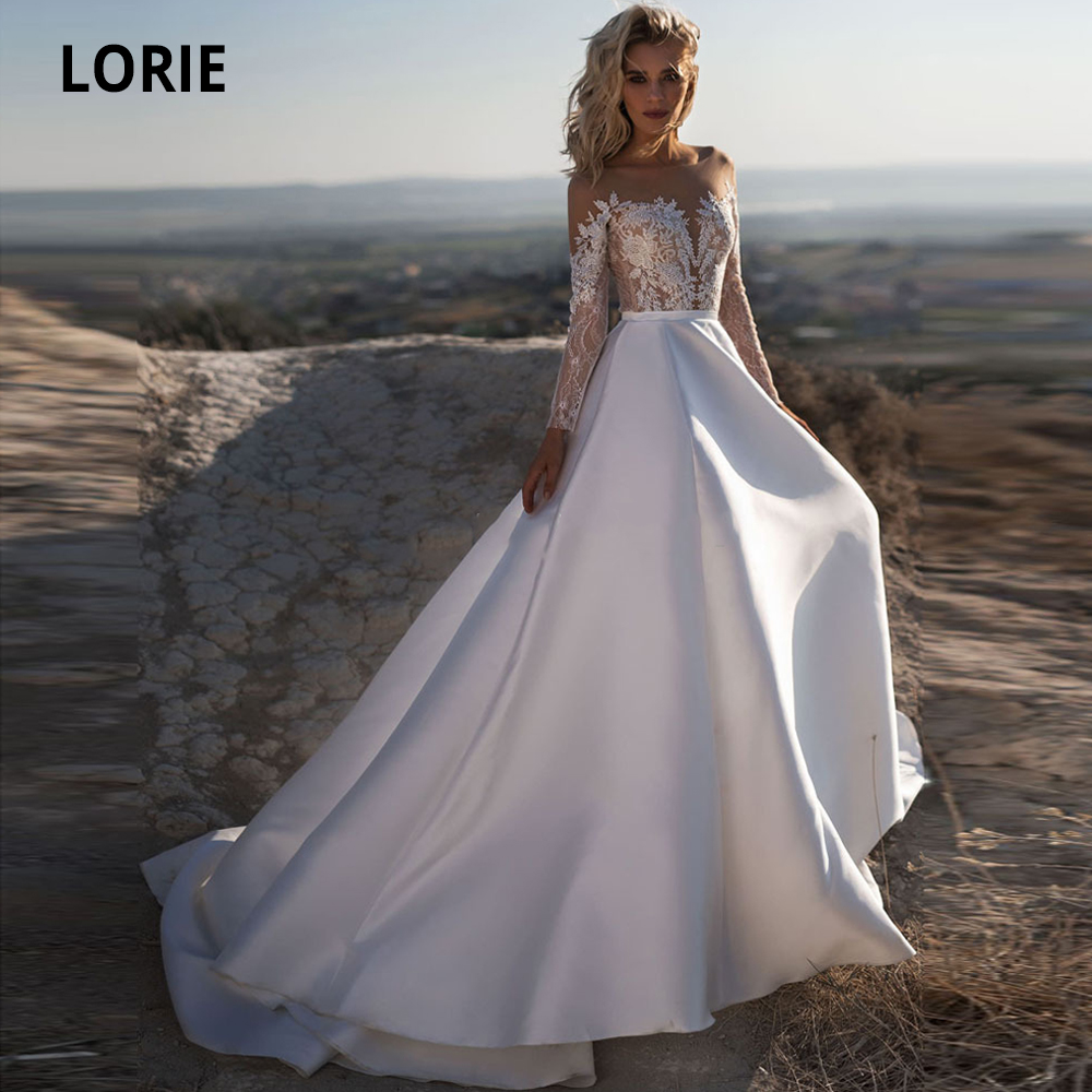 LORIE Long Sleeve Lace Satin Wedding Dresses Beach 2019 Scoop Neck Illusion Button Boho Bridal Gowns Simple Cheap Wedding Gown