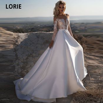 LORIE Long Sleeve Lace Satin Wedding Dresses Beach 2019 Scoop Neck Illusion Button Boho Bridal Gowns Simple Cheap Wedding Gown lorie champagne tulle wedding dresses beach boho lace appliques bridal gown o neck illusion short sleeve vintage wedding gowns