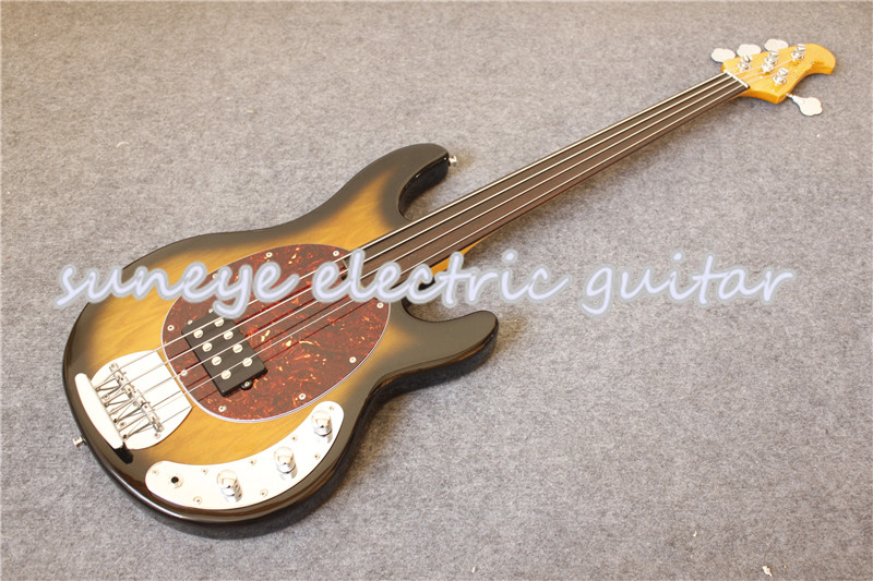 New Arrival Black Glossy Fretless Electric Bass Guitar 4 String CS Cherry Sunburst Music Man Ray Style Kit