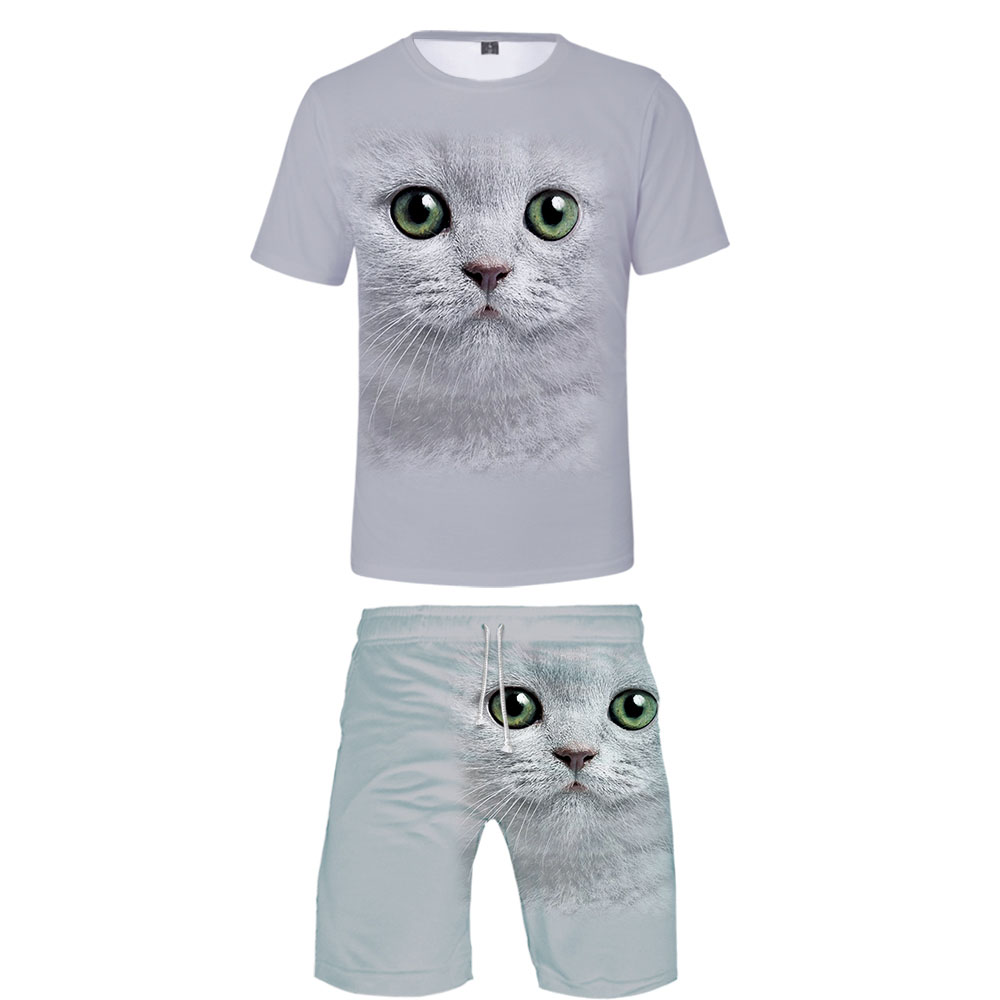 New 3D Animal T-shirt + Beach Shorts Male / Female Hip Hop Summer Casual 3D Cat Print Boy / Girl Two-piece Fashion Cool