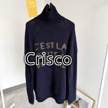 Sweater Letter Jacquard Women Autumn Thick Winter Turtleneck Wool And
