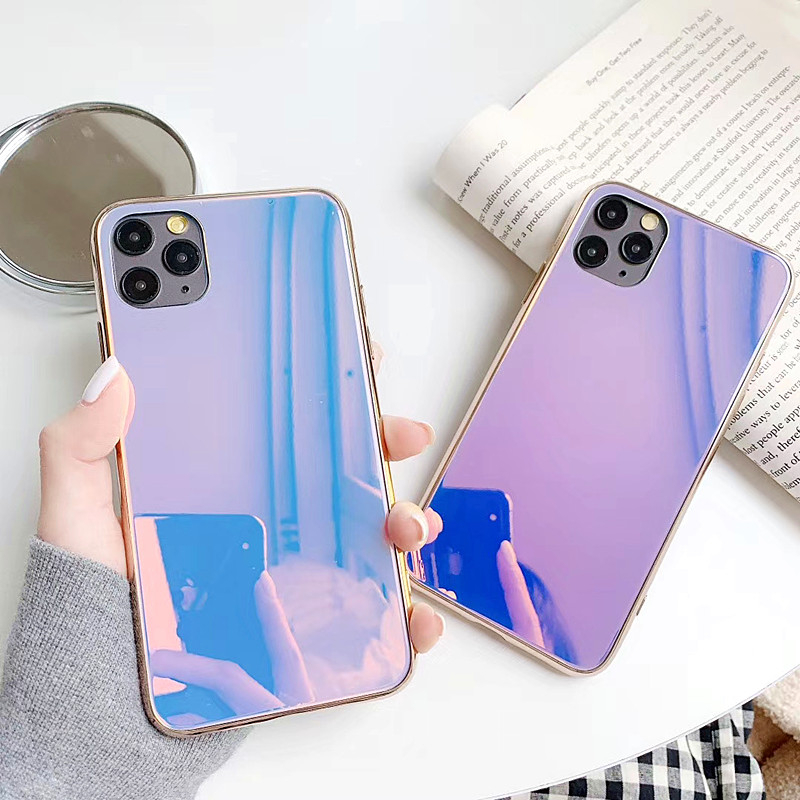 Luxury Plating <font><b>Makeup</b></font> Mirror <font><b>Case</b></font> For <font><b>iphone</b></font> 11Pro <font><b>Case</b></font> SE XS MAX XR X 6 7 8 Mirror Glass Shockproof Soft Protector Phone Cover image