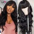 Женский парик естественного цвета с челкой без клея, полный машинный парик, бразильские объемные волнистые парики Remy, человеческие волосы, ...