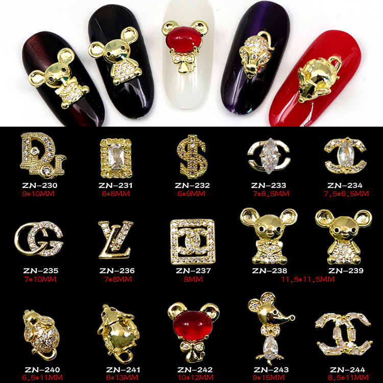 5pcs 3d Alloy Zircon New Year Of The Rat Mouse Nail Art Decorations Crystal Rhinestones Zodiac Nails Accessories Jewelry Charms