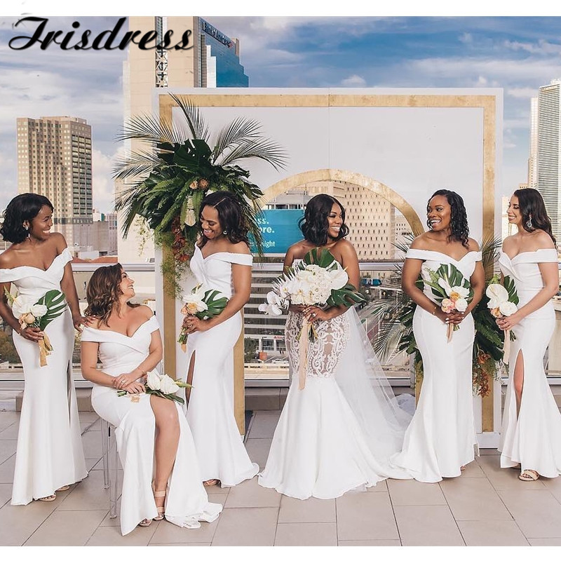 White African Bridesmaid Dresses Long 2020 High Split Mermaid Maid Of Honor Dress Sexy Off Shoulder Wedding Guest Party Gowns