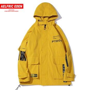 Aelfric Eden Multi Pockets Letter Print Men Jackets Harajuku Casual Cotton Coat Hip Hop Color Block Male Fashion Tops Streetwear