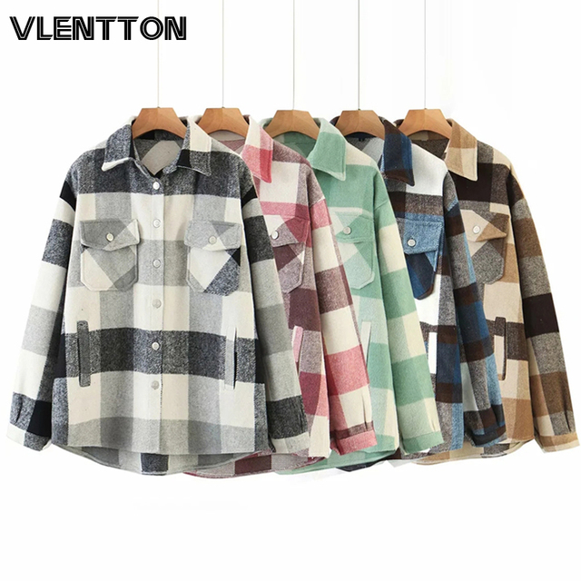 Autumn Winter Women Fashion Oversize Vintage Plaid Jackets Coat Chic Pockets Long Sleeve Casual Loose Outwear Tops Female Mujer 1
