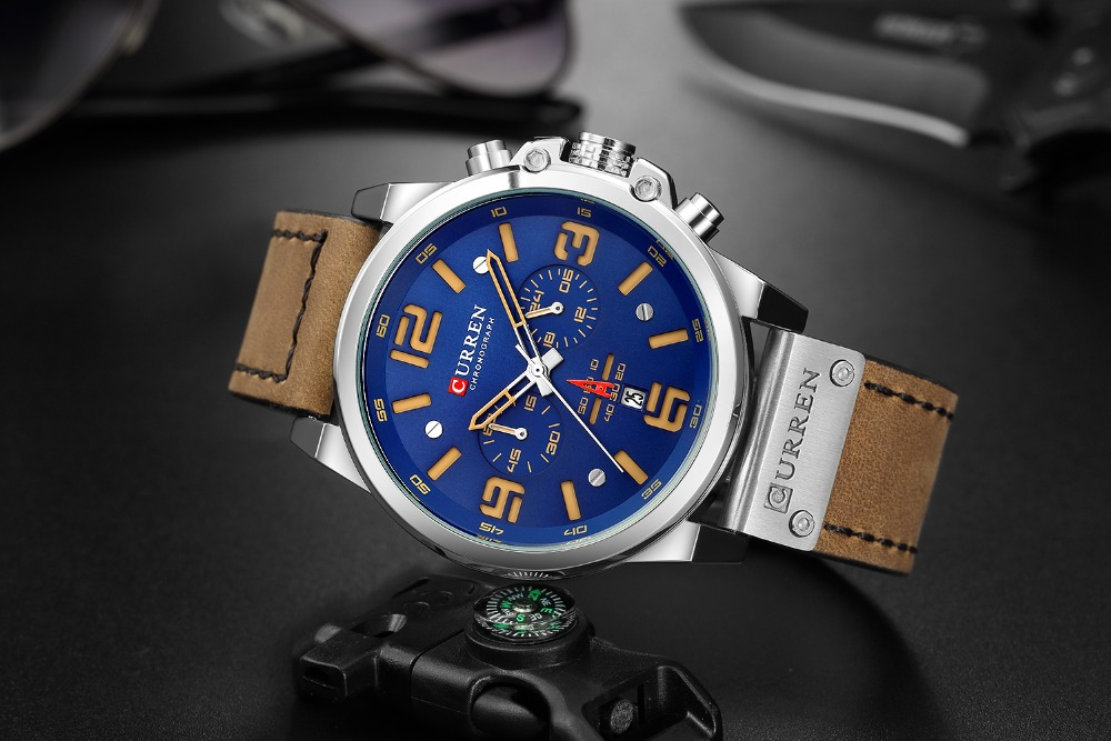 Hb3cf8a52292a4231bfe0b41d001af6eaj Men watch Sport Quartz Wrist Watch Man Casual Genuine Leather Waterproof Chronograph Watch Male Wristwatch Gifts For Men