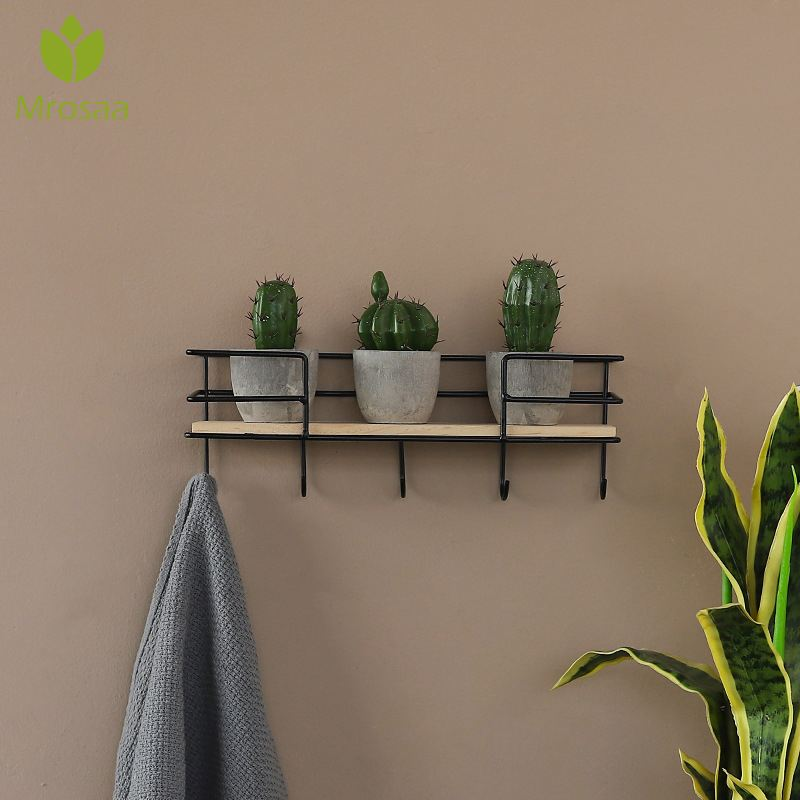 New 5 Hooks Wall-hung Type Metal Decorative Wall Shelf Sundries Storage Box Iron Craft Hanger Organizer Key Rack Wood Wall Shelf