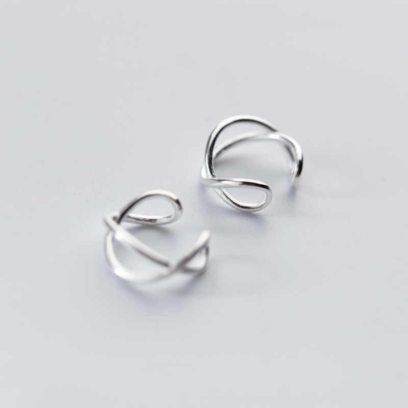 100% 925 Sterling Silver Hollow Twist Ear Cuff klip na kolczyki dla kobiet dziewczyna bez Piercing kolczyki biżuteria