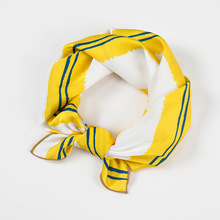 50CM small square silk striped scarves professional neck scarf for women hairbands vintage bandana hip hop girl kerchief