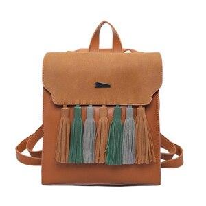 Image 4 - Toposhine Fashion Tassel Hit Color Square Girls Backpack Scrub PU Leather Women Backpack Fashion School Bags 1617