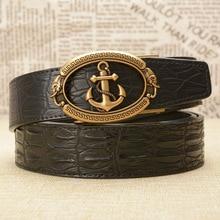 Men's Belt Anchor Automatic Buckle Wild Vintage Waistband Crocodile-Skin High-Grade Luxury Fashion