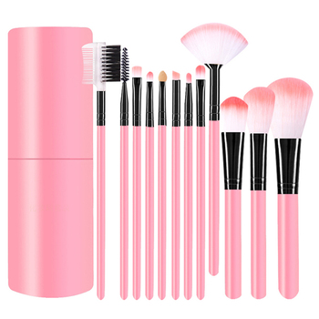 12Pcs/Set Professional Makeup Brushes Tool Eye Shadow Foundation Eyebrow Lip Makeup Brush cosmetics Leather Cup Holder Case Kit