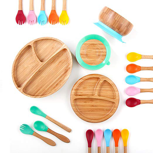 Baby Feeding Bowl And Fork Set,Baby Feeding Bowl And Spoon Set, Bamboo Bowl With Spill Proof, Stay Put Suction Ring