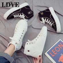 Sneakers Women 2019 New Autumn Winter High Top Shoes White Sneakers High Quality PU Lace Up Chunky Sneakers Moda Mujer pu patchwork lace up sneakers