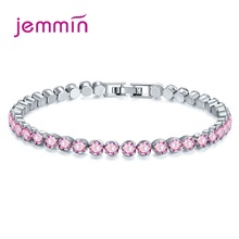 Fashion Brand Women 925 Sterling Silver Bracelets Round AAA Cubic Zirconia Elegant Pulsera Mujer Friendship Gift