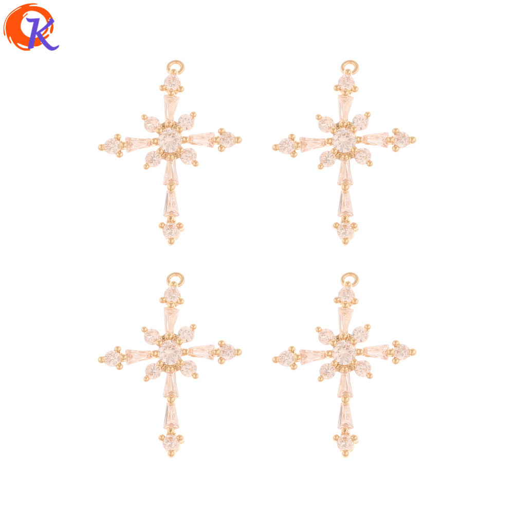 Cordial Design 30Pcs 17*23MM CZ Charms/Jewelry Accessories/Hand Made/Cross Shape/DIY Making/Earring Findings/Rhinestone Pendant
