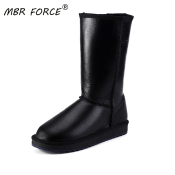MBR FORCE Classic Women Waterproof Knee High Sheepskin Leather Winter Boots Shearling Wool Fur Lined Snow Boots Keep Warm Shoes mbr force classic knee high sheepskin suede leather wool fur shearling lined winter boots for women snow boots shoes size 34 44
