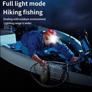 Светодиодный налобный фонарь EDC головной светильник + COB светильник 1800lm USB фонарь для рыбалки HL16 Головной фонарь, перезаряжаемый фонарь для велосипеда 1800 мАч