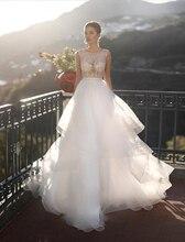 新着セクシーな A ラインのウェディングドレス 2020 O ネックショートキャップスリーブレースアップイリュージョン花嫁衣装 Vestido デ · ノビアプラスサイズ