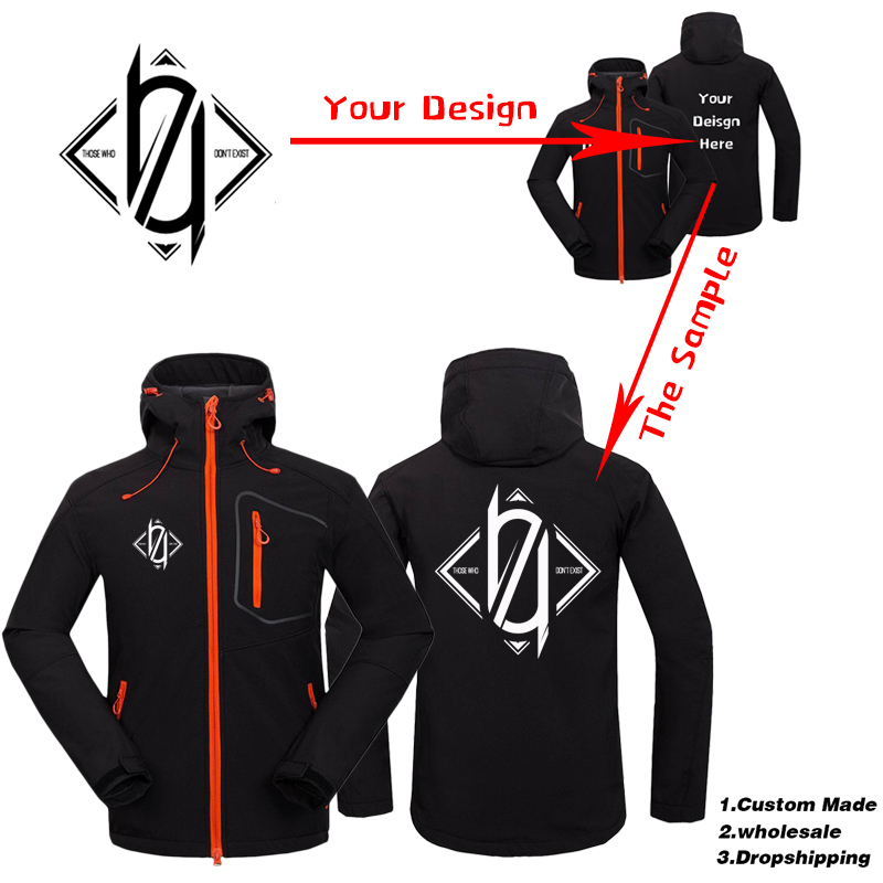 Custom Logo Design Printed Men's Autumn Fleece Jackets Waterproof Windproof Coat Zipper Softshell Degisn Hooded Winter Outerwear