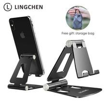 LINGCHEN держатель для телефона Подставка для iPhone 11 Xiaomi Mi 9 металлический держатель для телефона Складная подставка для мобильного телефона настольная подставка для iPhone 7 8 X XS