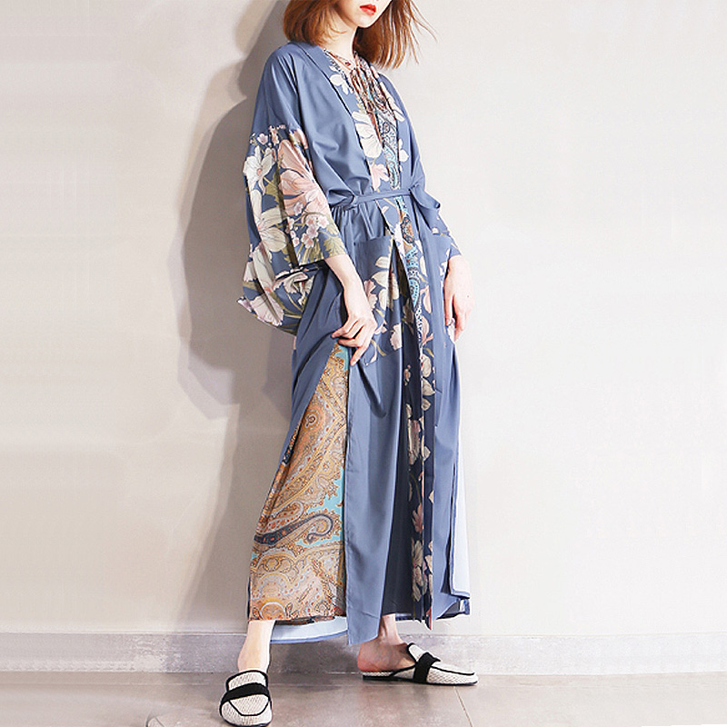 Floral Print Japanese Style Kimono Cardigan