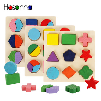 Wooden Geometric Shapes Sorting Math Montessori Puzzle Preschool Learning Educational Game Baby Toddler Toys for Children image