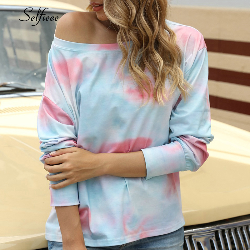 New Summer Loose Sexy Tie Dye Print Short Sleeve T Shirt O Neck Gradient Color Tee Shirt Women Cotton Comfy Streetwear 2020(China)