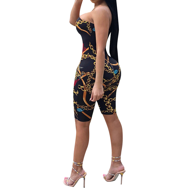 Sexy Jumpsuit Party Bodysuit Overalls Womens Jumpsuit Club Strapless Full New Fashion Printed Bodycon Rompers