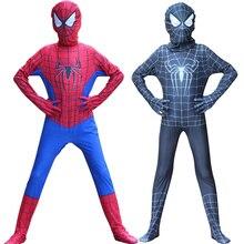 Хэллоуин черный красный Человек-Паук костюм 3D печать с застежкой-молнией для взрослых дети мальчики Человек-Паук косплей супергерой костюм для детей