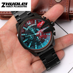 Image 5 - גבוהה באיכות רצועת עבור DZ4318 4323 4283 4309 מקורי סגנון נירוסטה רצועת השעון זכר גדול שעון מקרה צמיד 26mm שחור
