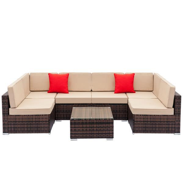 Rattan Sofa Set with Coffee Table 1
