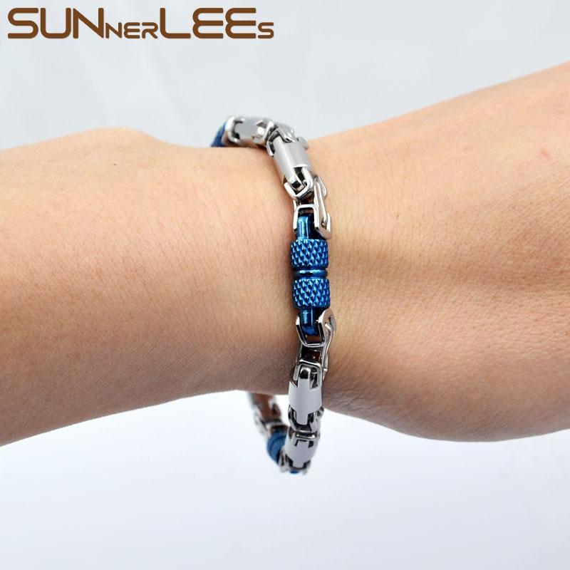 SUNNERLEES 316L Stainless Steel Bracelet 6mm Geometric Byzantine Link Chain Blue Silver Color Men Women Jewelry Gift SC42 B