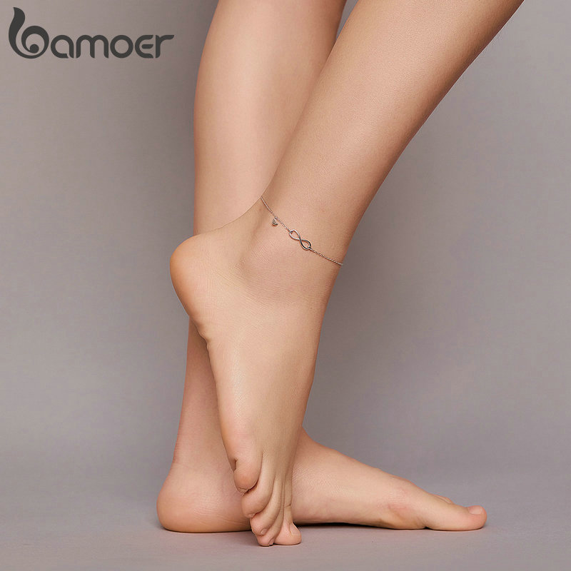 bamoer Real 925 Sterling Silver Infinite Chain Foot Jewelry for Women Anti-allergy Anklet Foot Bracelets Summer Jewelry SCT019