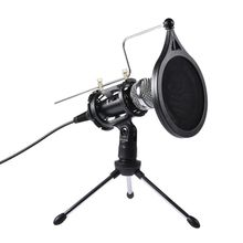 1Set USB Computer Microphone Phone Condenser Mic with Acoustic Filter Stand Holder for Broadcast Online Chatting cardioid directional condenser microphone for youtube broadcast gaming usb microphone for computer recording mic with stand