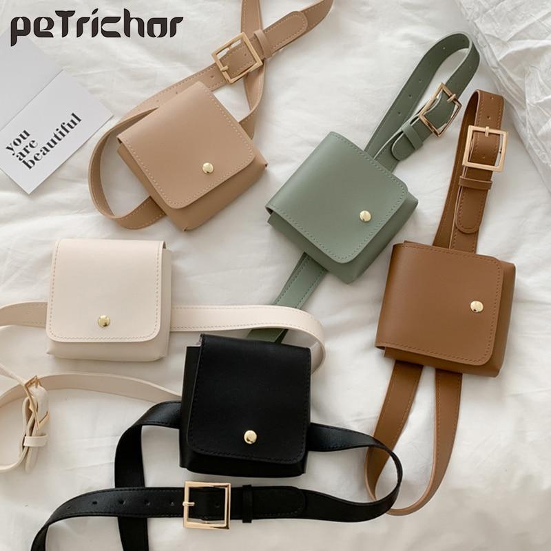 Fashion Women Belt Bags Solid Color Shoulder Waist Bags Women PU Leather Fanny Pack Casual Purse Wallet Chest Belt Crossbody Bag