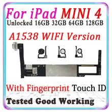 A1538 WIFI version Für iPad MINI 4 Motherboard Für MINI 4 wichtigsten Entsperrt Logic Board Mit Chips IOS MB mit/ohne touch ID
