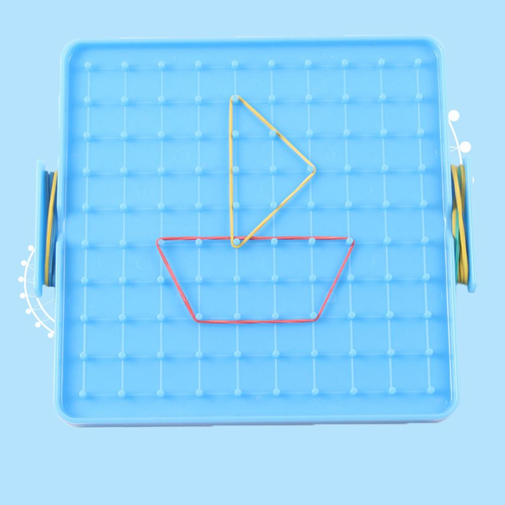 16x16cm Double Sided Geoboard Nails Peg Board Elastic Bands Kids Teaching Aids Plastic Double-sided Smart Toy With Elastic Band