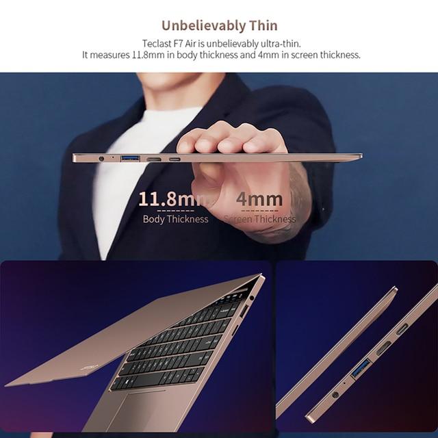 Teclast F7 Air Ultra Thin Laptop 14 inch Intel N4120 8GB LPDDR4 256GB SSD Notebook 1920x1080 FHD Windows 10 Computer 1.18KG 180° 3
