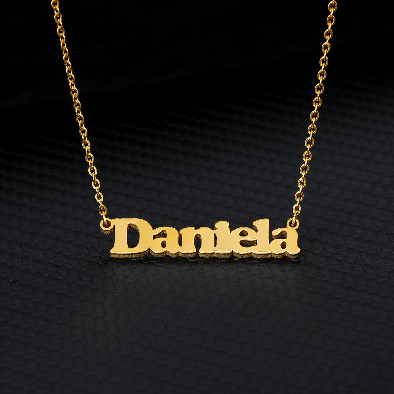 Personalized Custom Nameplate Necklaces For Women Men Gold Silver Long Chain Stainless Steel Letter Female Name Pendant Necklace