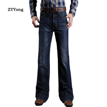 цена ZYYong Men's flared Jeans, Men's Short-leg Cut Loose Jeans, Classic Denim flared Pants, Elasticated Jeans, Men's Trendy Jeans онлайн в 2017 году