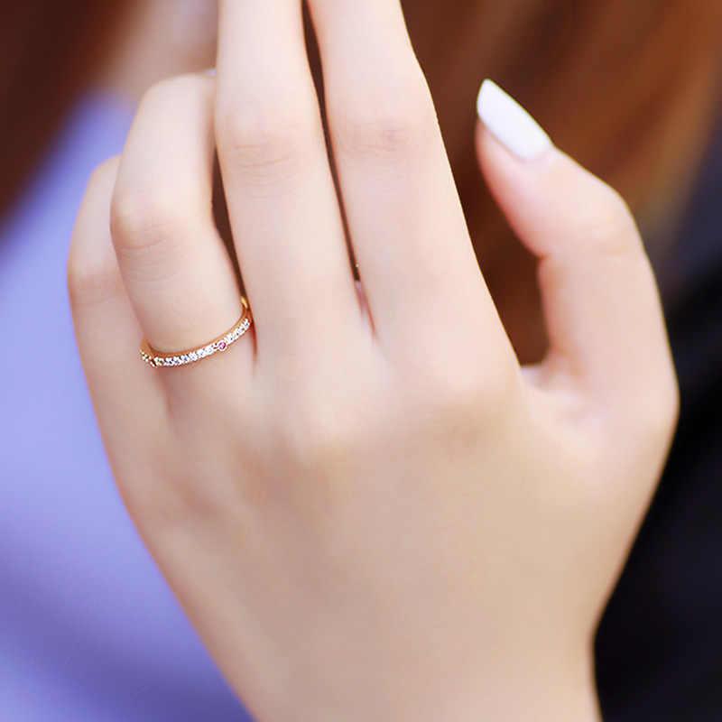 14K Hoa Hồng Vàng VVS1 Kim Cương Nhẫn Cho Nữ Thời Trang Bizuteria Anillos De Cưới Đá Quý Nhẫn 14K bộ Trang Sức Bạc Nữ