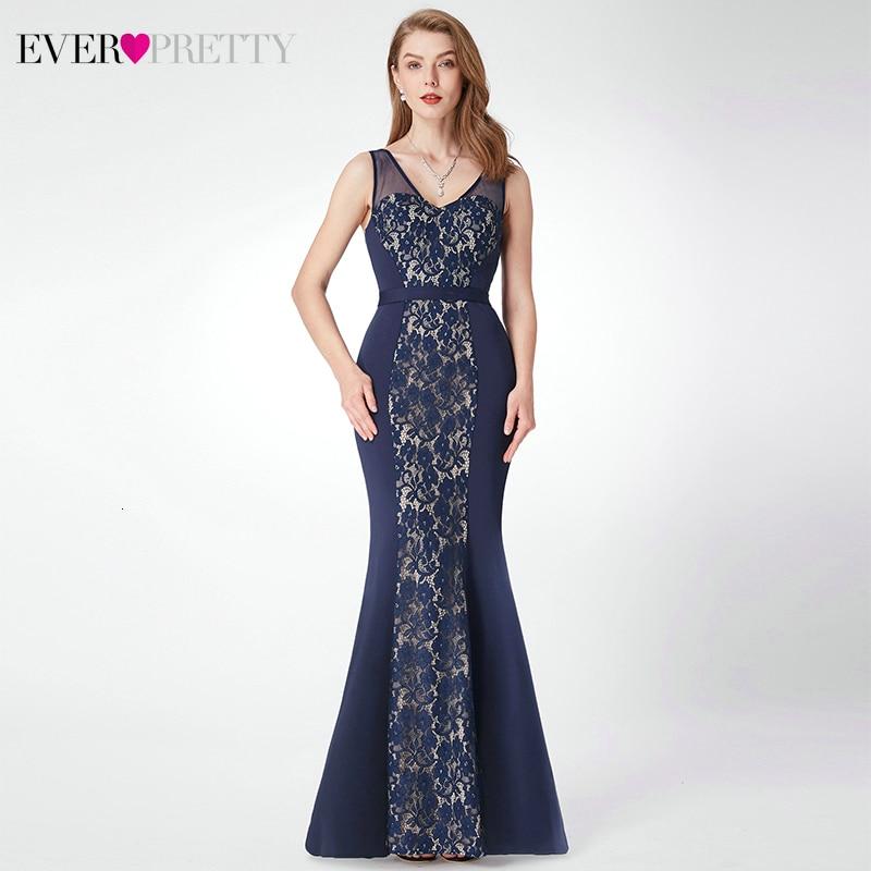 Сексуальные кружевные вечерние платья Ever Pretty А-силуэта с круглым вырезом и рукавом до локтя из тюля прозрачные элегантные длинные вечерние платья Robe De Soiree - Цвет: EP07277NB